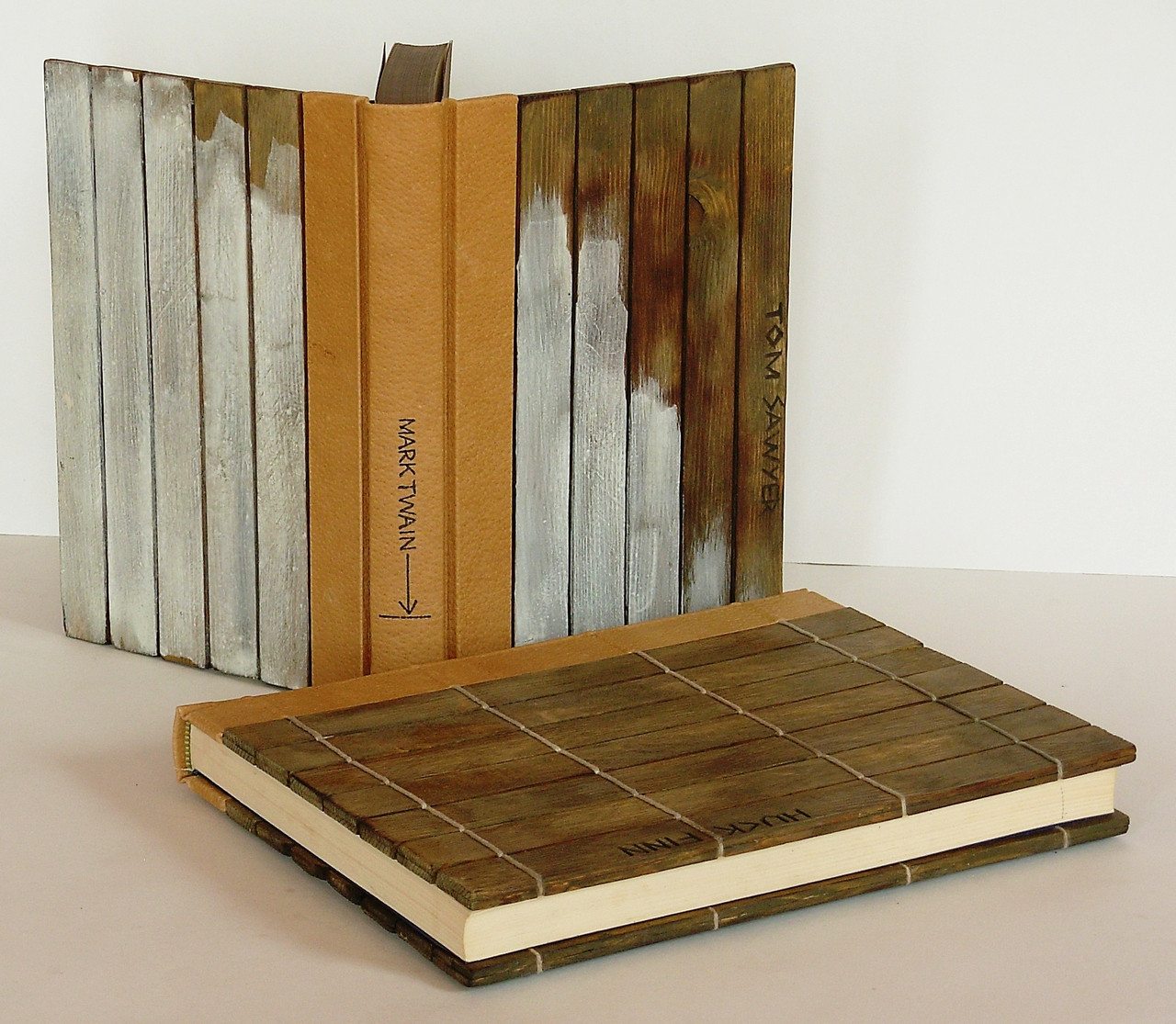 Huck Finn & Tom Sawyer by Mark Twain, 2 Volumes, Bindings by Richard Tuttle