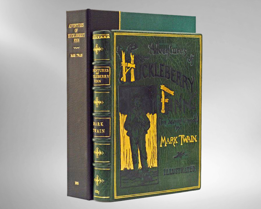 Huckleberry Finn by Mark Twain, 1885, True 1st Edition, Unique Leather Binding