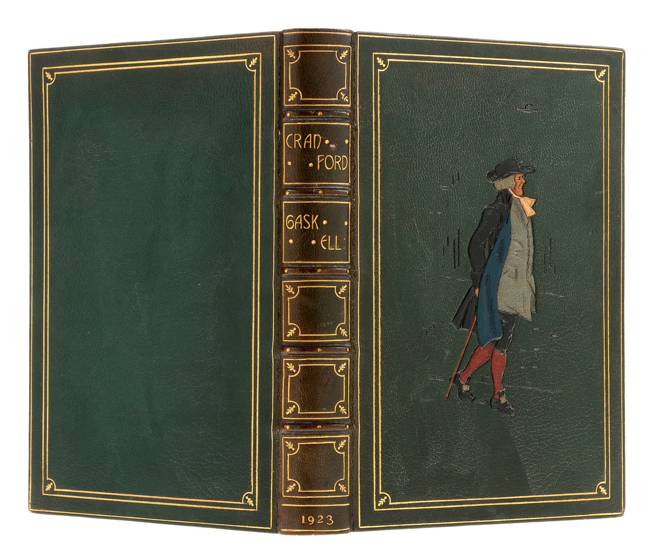 Cranford by Mrs. Gaskell, 1923, Signed Kelliegram Inlaid Leather Binding