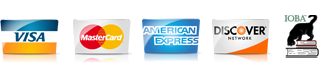 We Accept: Visa, MasterCard, American Express, Discover Card, PayPal, and Google Checkout. GeoTrust Certified. IOBA Member