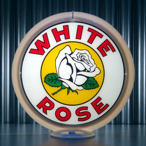 "White Rose Gasoline - 13.5"" Gas Pump Globe"