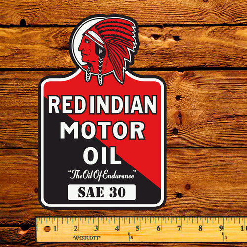 """Red Indian Motor Oil (Early) 6"""" x 9"""" Lubester Decal"""