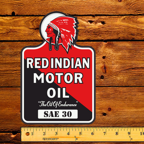 "Red Indian Motor Oil (Late) 6"" x 9"" Lubester Decal"