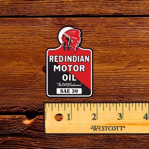 Red Indian Motor Oil Oil Bottle Decal