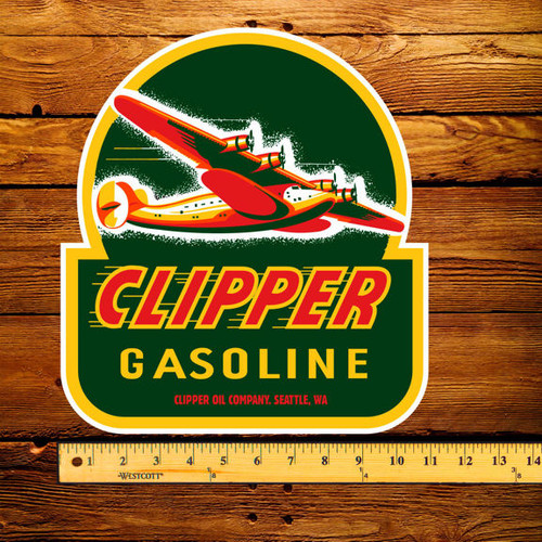 "Clipper Gasoline 12"" Pump Decal"