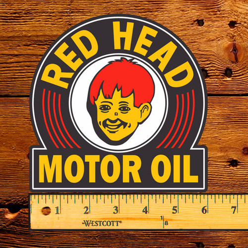 """Red Head Motor Oil 6"""" Lubester Decal"""