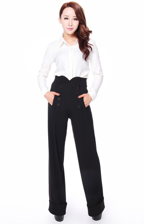 Black 1940's Style Performance Pants