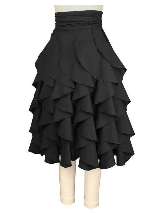 Black Flounced Performance Full Skirt