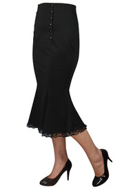 Black Double Button Performance Skirt