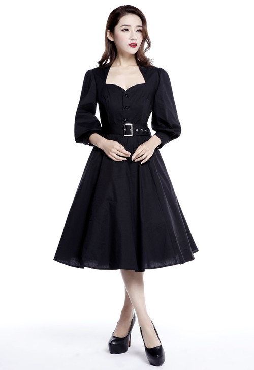 Black Performance Princess Dress with Belt