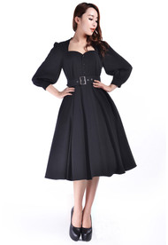 Black Performance Princess Retro Sleeved Dress