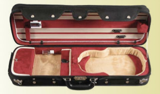 CC550 Red Suspension Violin Case Sturdy Backpack Open