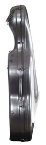 Side view of carbon fiber cello case with wheels