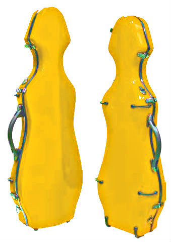Yellow Fiberglass Violin Case Cello-Shaped