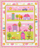 Dena Designs PWDF143 Happi Quilt Panel Pink Cotton Fabric By Yard