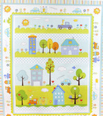 Dena Designs PWDF143 Happi Quilt Panel Blue Cotton Fabric By Yard