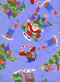 Hallmark Christmas HM03 Allover Blue Cotton Fabric 1 Yard