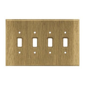 126431 Medium Oak Wood Quad Switch Cover Plate