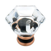 "P15573C-472 1 1/4"" Clear Acrylic & Bronze w/ Copper Cabinet Drawer Knob"