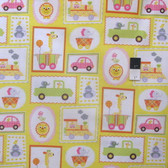 Dena Designs PWDF151 Happi Circus Frames Yellow Cotton Fabric By Yard