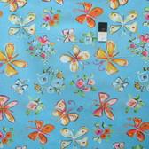 Dena Designs PWDF183 Tiddlywinks Butterflies Blue Fabric By The Yard