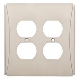 W32777SN Upton Satin Nickel Double Duplex Outlet Cover Plate