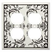 W27112-WW Fairhope White Wash Double Duplex Cover Plate