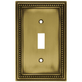 171904 Antique Brass Beaded Single Switch Cover Plate