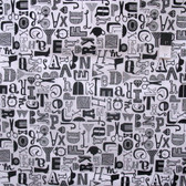 Erin McMorris PWEM071 Distrikt Babble White Cotton Fabric By The Yard