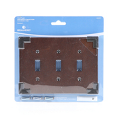 W27039-CHS Rowland Triple Switch Cover Plate Charcoal Ebony & Soft Iron