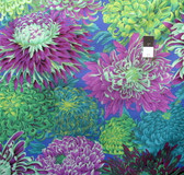 Philip Jacobs PJ41 Japanese Chrysanthe​mum Green Cotton Quilting Fabric By Yard
