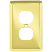 W10249-PB Brass Stamped Single Duplex Outlet Cover Plate 5 Pack