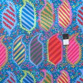 Kaffe Fassett PWGP153 Striped Heraldic Turquoise Cotton Fabric By The Yard