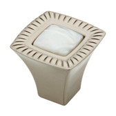 "P32518W-MUL 1-1/8"" Satin Nickel with Faux Mother Of Pearl Insert Cabinet Knob"