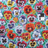 Philip Jacobs PWPJ076 Pansies Aqua Cotton Quilting Fabric By Yard