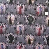 Springs Creative Disney Villains Portraits Dark Gray Cotton Fabric By Yard