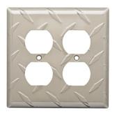 W32847-SN Diamond Plate Double Duplex Cover Plate Satin Nickel