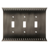 Brainerd W30339-904 Wadsworth Triple Switch Cover Wall Plate Heirloom Silver