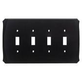 Brainerd Serene W34482-FB Flat Black Quad Switch Cover Plate