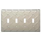 W32850-SN Diamond Plate Quad Switch Cover Plate Satin Nickel