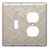 W32845-SN Diamond Plate Single Switch / Duplex Cover Plate Satin Nickel