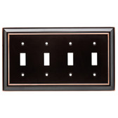 W10600-OB Oil Rubbed Bronze Architect Quad Switch Cover Plate