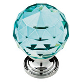 """P30779-CER 1 3/16"""" Cerulean Faceted Acrylic Polished Chrome Knob Drawer Pull"""