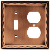 64779 Beaded Single Switch / Duplex Aged Brushed Copper Cover Plate