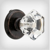 "BARACFK-VBR 1 1/4"" Clear Faceted Cabinet Knob w/ Backplate Venetian Bronze"