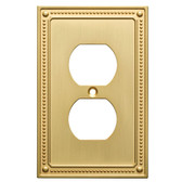 W35059-BB Brushed Brass Beaded Single Duplex Cover Plate