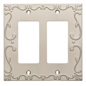 W35077-SNC Classic Lace Double GFCI Outlet Cover Plate Satin Nickel