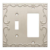 W35075-SNC Classic Lace Single Switch / GFCI Outlet Cover Plate Satin Nickel