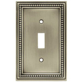 W10097-BSP Brushed Satin Pewter Beaded Single Switch Cover Plate