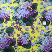 Snow Leopard Botanical PWSL002 Violets Yellow Cotton Fabric By Yd